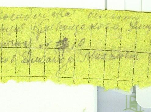 Бумага из солдатского медальона Н. Ефимова. Чаще всего эта бумага истлевает или не заполнена из-за солдатского поверья, и ее не удается прочитать.