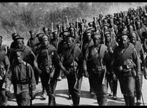 Русская пехота на марше баннер