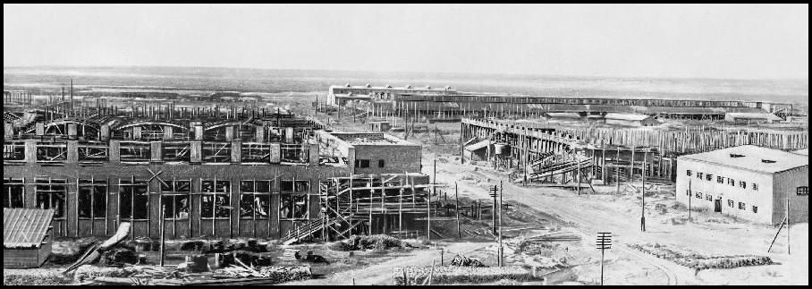 Строительство завода Сибкомбайн (Сибсельмаш), 1930, вид с нынешней улицы Станционнойщ