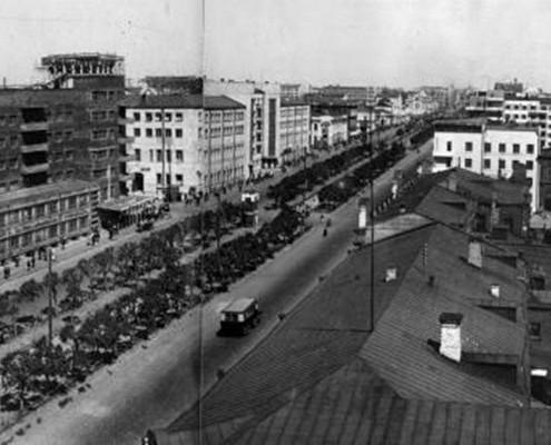 Фотография «Красный проспект» из фотоальбома «Новосибирск. 1891-1934». Фото И. Моторина. 1934 год.