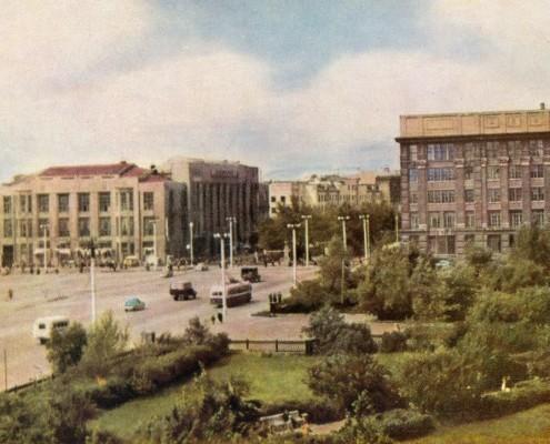 Почтовая открытка «Новосибирск. На площади Сталина».