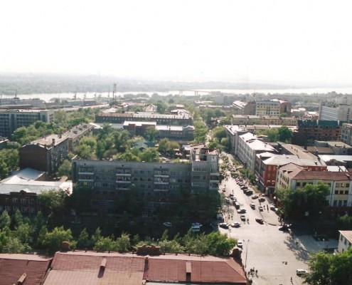 Фотография «Новосибирск. Вид с птичьего полета на пересечение Красного проспекта и ул. Коммунистической» Фото А. Шапрана. 2001 год. МН НВФ 6298