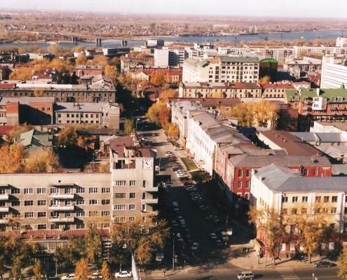 Фотография «Новосибирск. Вид с птичьего полета на ул. Коммунистическую» Фото А. Шапрана. 2003 год. МН НВФ 6300